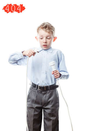 boy with an electric plug in his hands isolated on a white background, with a red warning network error 404