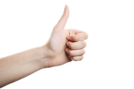 beautiful female hand shows ok. isolated on white background, beautiful natural nails Zdjęcie Seryjne - 133081353