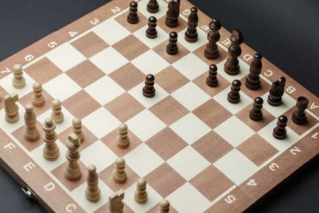 chess pieces on a chessboard, against a dark background. new party, concept of success strategy and the right choice