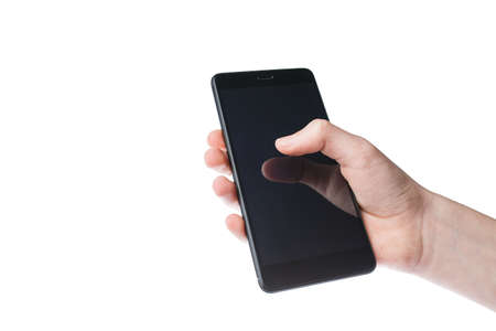 black smartphone in hands isolated on white background, modern technology