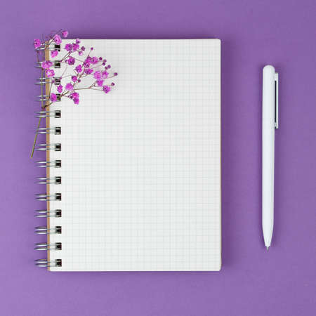 Top view of a open notebook, spiral notepad with blank sheet and a pen. With a branch of pink gypsophila. Flat lay, spring background At blank copy space, over purple background. Vertical photo. 版權商用圖片