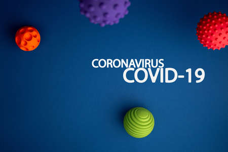 text coronavirus on Virus abstract strain model on blue background flat lay. Virus Pandemic Protection Concept. Pathogen organism, infectious micro virology.