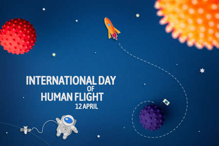 International day of human space flight. 12 April World Cosmonautics Day. Launch rocket journey to the stars on a blue isolated background.