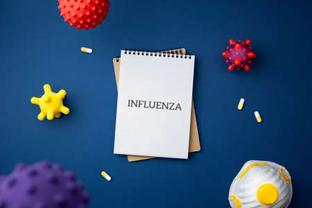 Pandemic protection concept against influenza top view with copy space. Spiral notebook with face mask and virus abstract strain model on blue background close up flat lay.