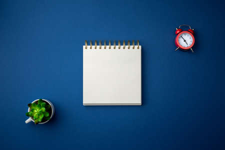 Spiral notebook with red alarm clock and green plant in a cup on blue background. Office table top view concept.  Close up photo.