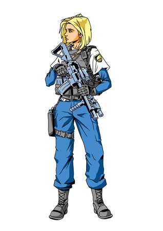 Polizistin mit Waffe Vektorgrafik