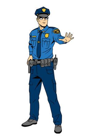 Polizist befiehlt anzuhalten Vektorgrafik