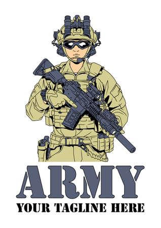 Armeesoldat im Kampfausrüstungslogo