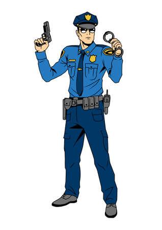 Polizist mit Waffe und Handschellen