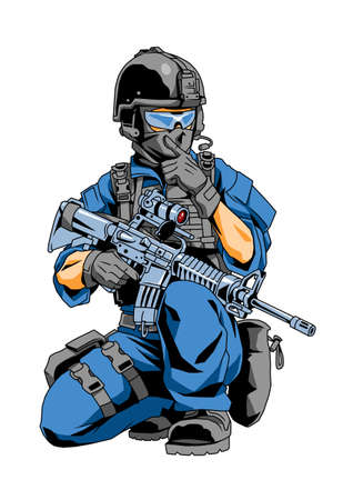 special forces police officer gives the command Illustration