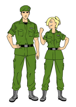 man and woman soldiers characters Illustration
