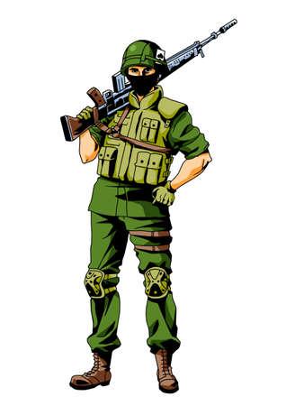 masked soldier with gun