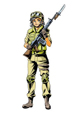soldier girl with gun
