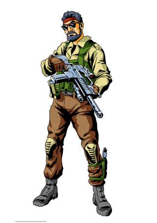 soldier mercenary with gun