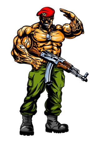 muscular soldier with gun
