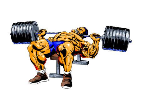 le bodybuilder soulève le poids lourd d'haltères au gymnase