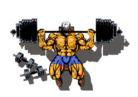 bodybuilder workout with heavy barbell