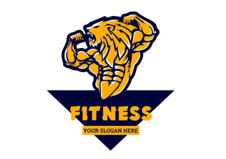 muscular body lion logo fitness