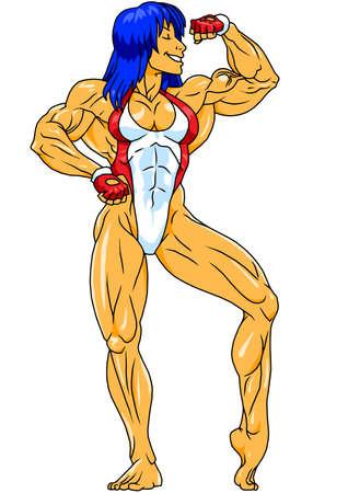fitness silna dziewczyna pozuje