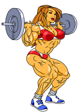 muscular girl workout with barbell Illustration