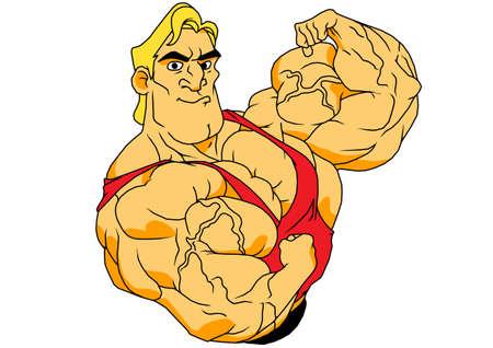 cartoon bodybuilder biceps Stock Illustratie