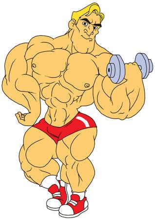 cartoon bodybuilder with dumbbells