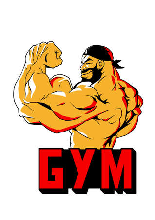 brutal muscular bodybuilder biceps logo