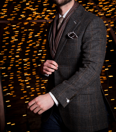 Male model in a suit in movement