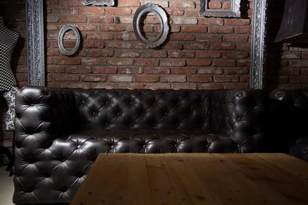 Leather sofa. Imagens