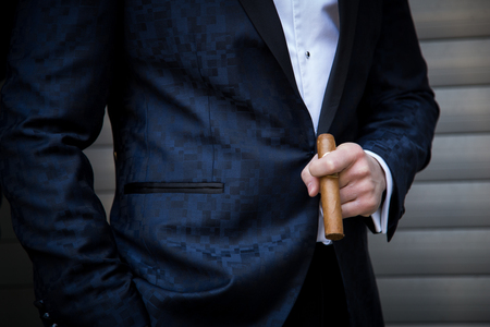 Male model in a tuxedo with a cigar Imagens