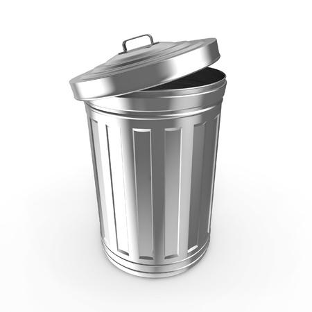 trashcan: Steel trash can Stock Photo
