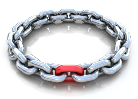broken unity: 3d illustration of metal chain circle over white background