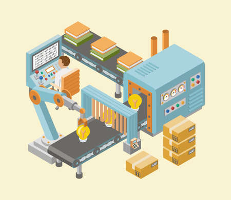 Isometric industrial factory horizontal banners with automated lines of production assembly and packaging processes vector illustration