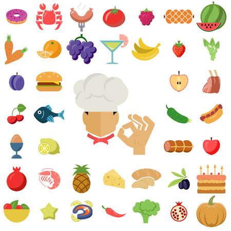 vector black food icons set on gray Vektorgrafik