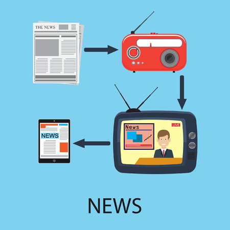 mobile phones: Abstract flat vector illustration of news spreading by different ways: by TV, radio, newspapers and by internet.