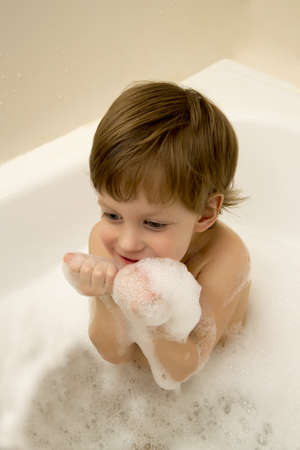 Cute Boy Taking A Bath With Foam Stock Photo, Picture And Royalty ...