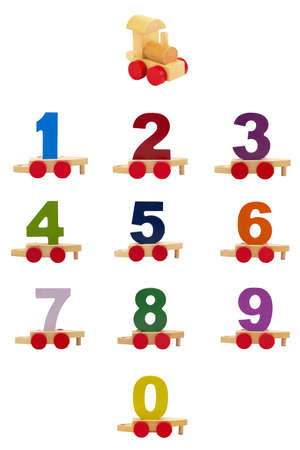 wood blocks: Toy train with numbers