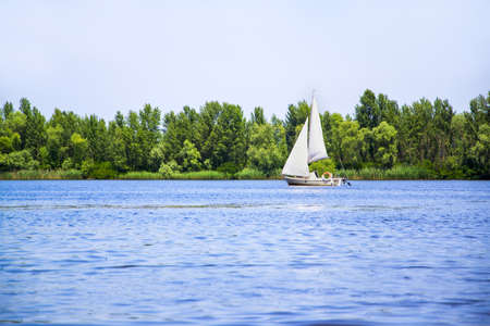 dniper: Sail boat on Dniper river Stock Photo