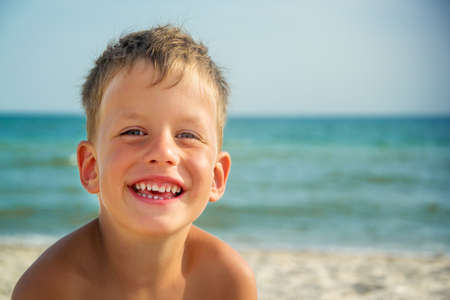 Portrait of four years boy on beach Stock Photo - 34765678