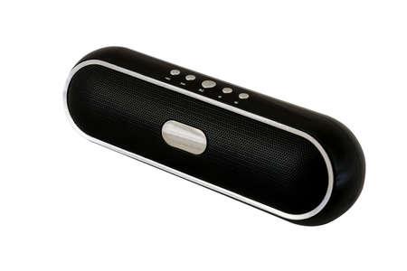 Black wireless speaker on white background