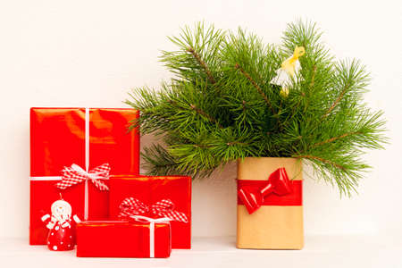 needle laces: Present with fir tree brunch in the vase Stock Photo
