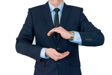 Businessman standing posture show hand isolated on white background