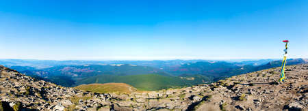 Panoramic view from Mount Hoverla, Ukraine Carpathian mountains. Stock Photo