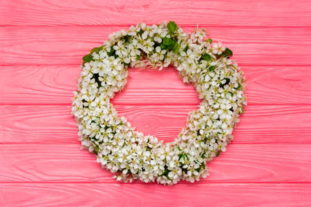 Round frame wreath made of spring flowers and leaves on pink wooden background. Flat lay. Top view. Stock Photo