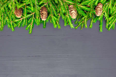 Christmas Border made of natural fir tree branches on black, Flat lay mock-up for restaurant menu Stock Photo
