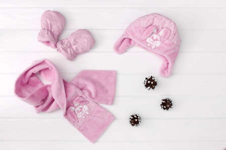Autumn or winter fashion outfit. Baby girl pink set of clothing on the wooden background. Stock Photo