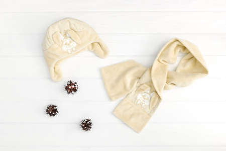 Autumn or winter fashion outfit. Baby beige set of clothing on the wooden background.