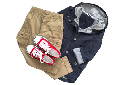 Top view fashion trendy look of kids clothes. Kids fashion. Spring, autumn outfit