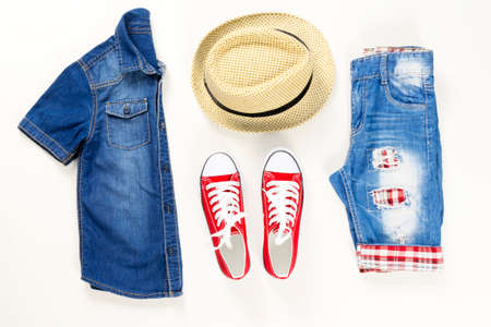 Collection collage of summer clothing and accessories. Summer outfit of casual on white Stock Photo - 122264893