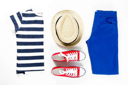 Collage of children clothing in marine style. Summer, spring boy outfit. Fashion trendy look